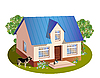 Vector clipart: model of three dimensions house