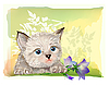 Fluffy kitten with bluebell | Stock Vector Graphics