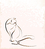 Vector clipart: outline of sitting cat
