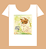 Vector clipart: childish t-shirt design with cat and butterfly