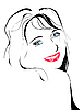 Vector clipart: line art portrait of flirting young girl
