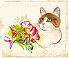 Cat with flowers | Stock Vector Graphics