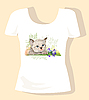 Vector clipart: t-shirt design with kitten and bluebell