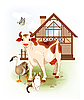 Vector clipart: Cow, cat and goose.