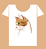 T-shirt design with ginger cat | Stock Vector Graphics
