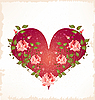 valentines day greeting card with heart and roses