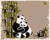 Vector clipart: pandas family in the bamboo forest