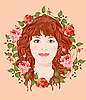 Vector clipart: young girl in the floral frame
