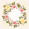Vector clipart: round frame with roses