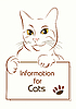 Vector clipart: adorable outline cat holding banner