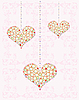 Vector clipart: greeting card with diamond hearts