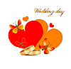 Vector clipart: wedding card with rings, hearts and butterflies