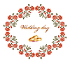wedding card with red roses and rings