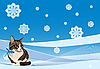 Tabby cat on the winter card | Stock Vector Graphics