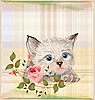 Vector clipart: fluffy kitten with rose