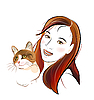 Vector clipart: portrait ginger cat and young girl