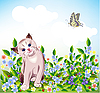Vector clipart:  blue-eyed little kitten at the meadow