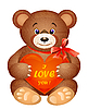 Teddy bear with red heart | Stock Vector Graphics