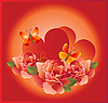 romantic card with red roses and butterflies