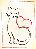Vector clipart: cat is waiting for your love