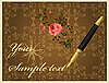 Vector clipart: golden pen and rose over vintage background
