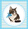 Vector clipart: vintage portrait of the cat