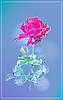 Vector clipart: outline pink rose over blue