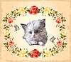 Vector clipart: greeting card with kitten, roses and butterflies