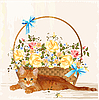 Vector clipart: vintage greeting card with ginger kitten and basket