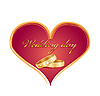 Vector clipart: wedding card with rings and red heart