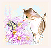 Vector clipart: birthday card with little kitten, flowers and butterfly