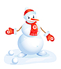 cute smiling snowman in red cup and mittens