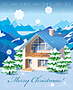 Vector clipart: Christmas card with rural landscape and house