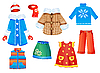Vector clipart: set of seasonal clothes for girls