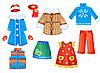Vektor Cliparts: Set von saisonalen Kleidern für Mädchen