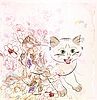Vector clipart: kitten and flowers