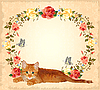 Vector clipart: vintage greeting card with ginger cat and roses