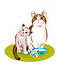 Vector clipart: Cats family. Cat and kitten are going to eat