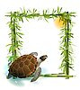 tropical background with bamboo, sun and sea turtle