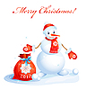 Vector clipart: cute smiling snowman with red christmas sack
