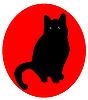 black cat over red