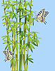 Vector clipart: butterflies and bamboo