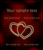 Vector clipart: hearts over halftone background