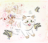 Векторный клипарт: Котенок и бабочки