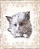 Векторный клипарт: старинные открытки с пушистым котенком