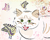 Vektor Cliparts: Katze und Schmetterlinge
