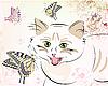 Vector clipart: cat and butterflies