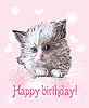 greeting card with fluffy little kitten