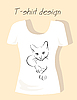Векторный клипарт: Футболки дизайн контур кошка силуэт
