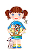 Vector clipart: little girl with funny kittens